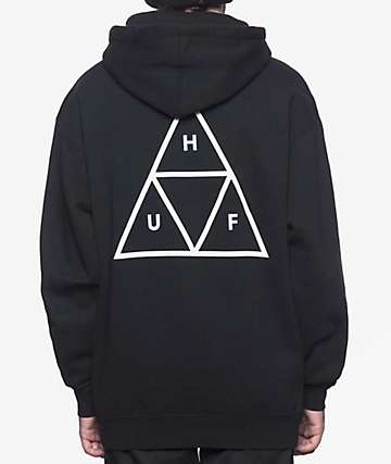 HUF Essentials Triple Triangle Black Hoodie