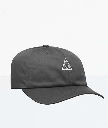 HUF Essentials Triple Triangle Charcoal Strapback Hat