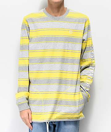 HUF Essex Yellow Striped Long Sleeve Knit T-Shirt