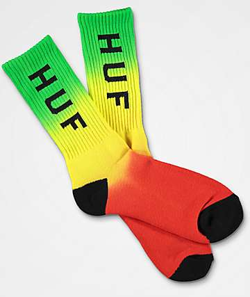 HUF Faded Green, Yellow & Red Crew Socks