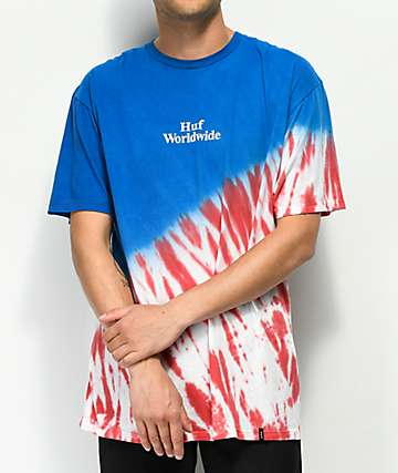 HUF Flag Red, White & Blue Tie Dye T-Shirt