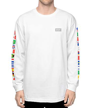 HUF Flags camiseta manga larga en blanco