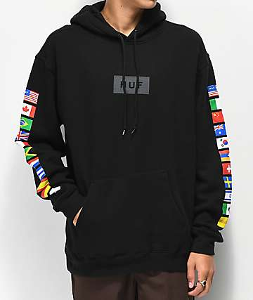 HUF Flags sudadera con capucha negra