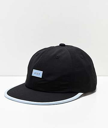 HUF Formless Black Bar Logo Strapback Hat