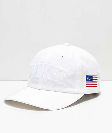 HUF Fuck It Big White Strapback Hat