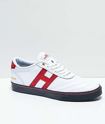 HUF Galaxy World Cup zapatos de skate en blanco, rojo y azul