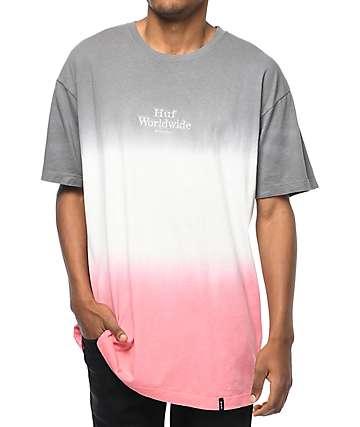 HUF Garment Dip Dye Grey & Pink T-Shirt