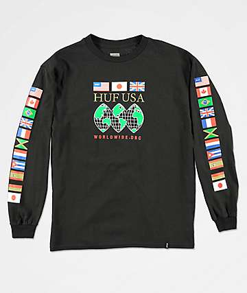 HUF Global Domination camiseta negra de manga larga para niños