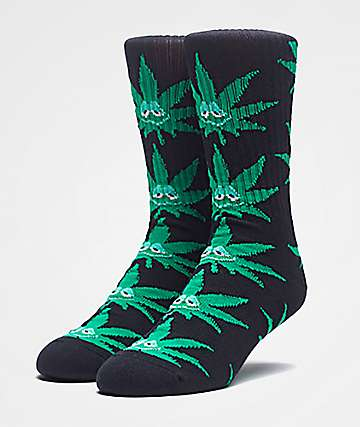 HUF Green Buddy Black Crew Socks