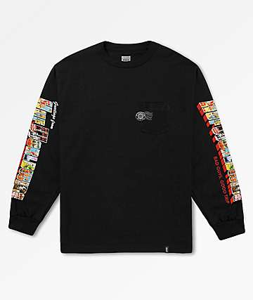HUF Greetings Black Long Sleeve Pocket T-Shirt