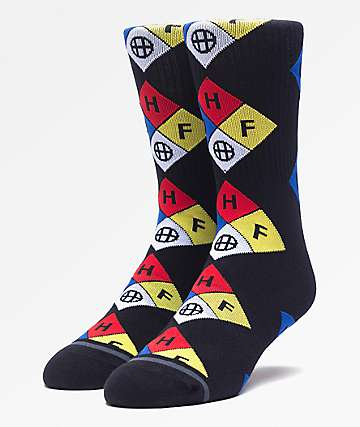 HUF Hazard Black Crew Socks