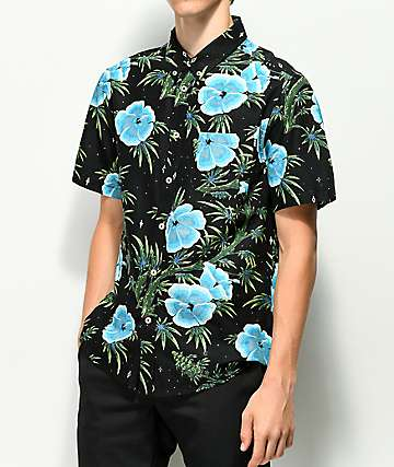 HUF Herrer Black & Floral Button Up Shirt