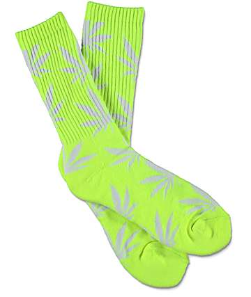 HUF Highlighter Plantlife Neon Yellow Crew Socks
