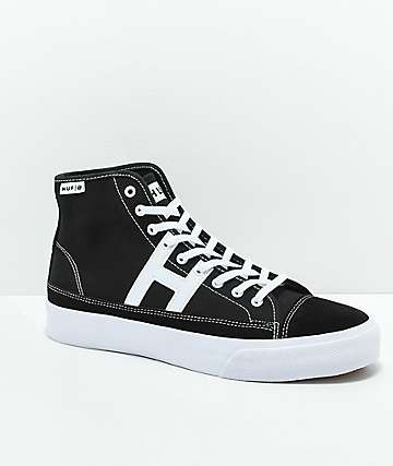 HUF Hupper 2 Hi Black & White Skate Shoes