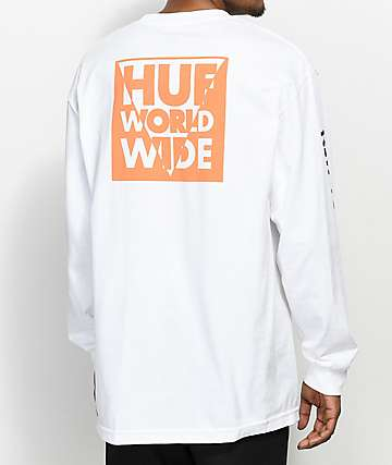 HUF International Block White Long Sleeve T-Shirt