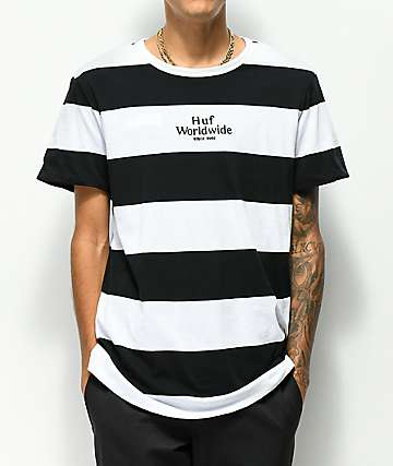 HUF Invert Reversible Black & White Stripe T-Shirt