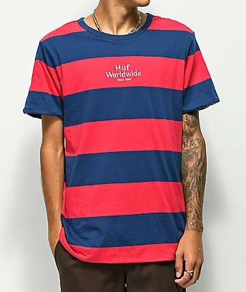 HUF Invert Reversible Navy & Red Stripe T-Shirt