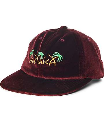 HUF Jamaica Burgundy 6 Panel Velvet Hat