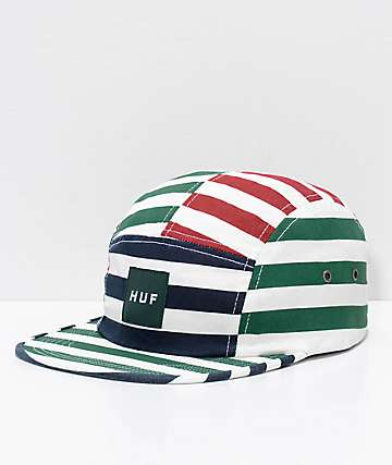 HUF Kennedy Box Logo Volley Multi-Striped 5 Panel Hat
