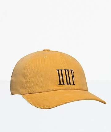 HUF Marka Corduroy Yellow Strapback Hat