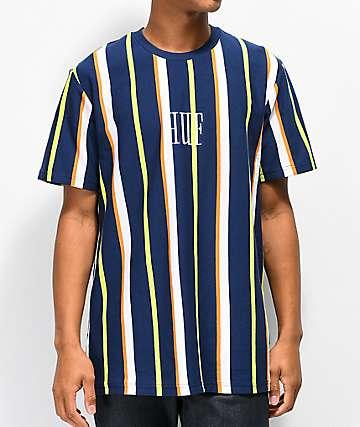 HUF Marka camiseta de rayas azul marino