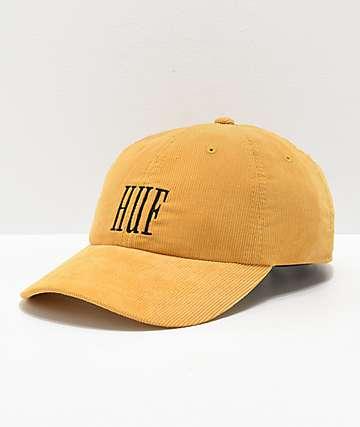 HUF Marka gorra de pana amarilla