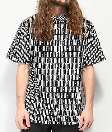HUF Night Market Black Woven Short Sleeve Button Up Shirt