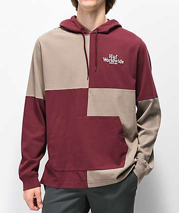 HUF Nostalgia Dark Red & Tan Rugby Hooded Long Sleeve T-Shirt