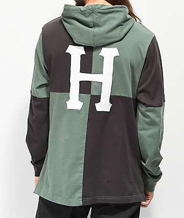 HUF Nostalgia Rugby Dark Green Hooded Long Sleeve T-Shirt