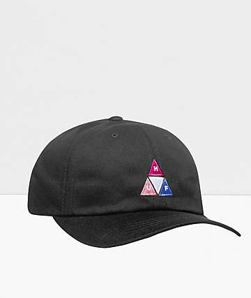 HUF Peak Logo Black Strapback Hat