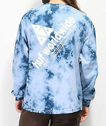 HUF Peak Logo Script Blue Washed Long Sleeve T-Shirt