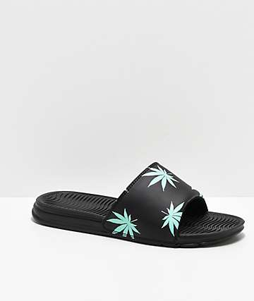 HUF Plant Life Black & Mint Green Slide Sandals