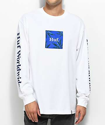 HUF Plant Life Woven Label Long Sleeve White T-Shirt