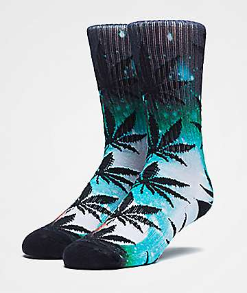 HUF Plantlife Airbrush Teal Crew Socks