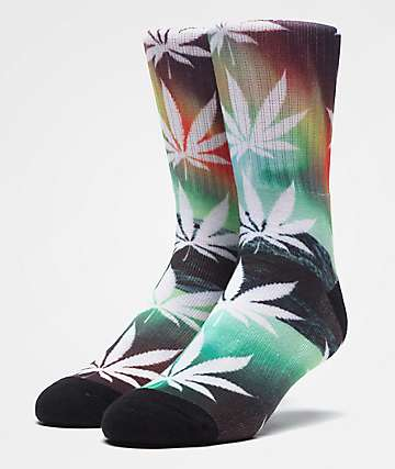 HUF Plantlife All The Lights Green Crew Socks