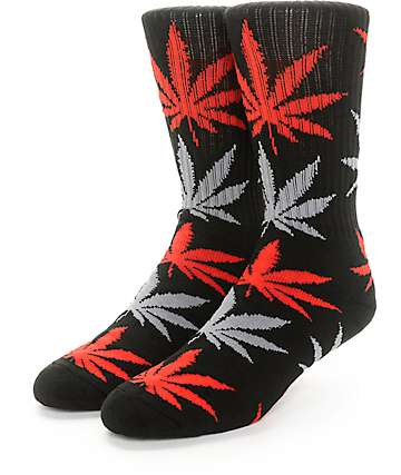 HUF Plantlife Black, Red & Grey Crew Socks