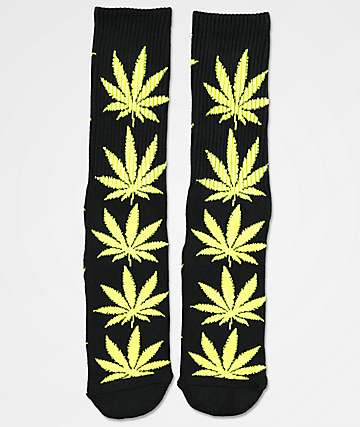 HUF Plantlife Black & Neon Green Crew Socks