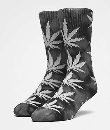 HUF Plantlife Black Crystal Wash Crew Socks