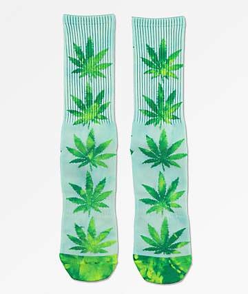HUF Plantlife Blue, Green & Yellow Tie Dye Crew Socks