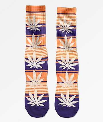 HUF Plantlife Blue Iris & Orange Striped Crew Socks
