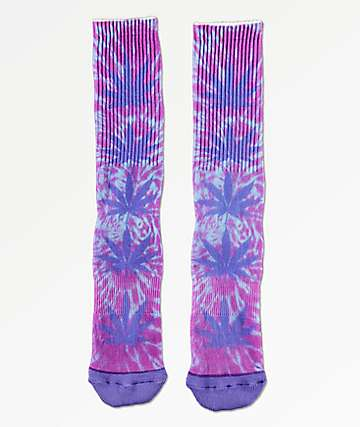 HUF Plantlife Blue Iris Digital Dye Crew Socks