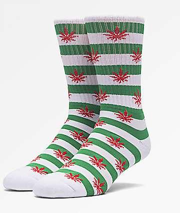 HUF Plantlife Candy Cane calcetines en verde y blanco