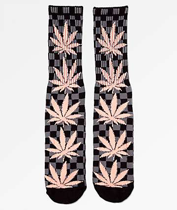 HUF Plantlife Checkered Black Crew Socks