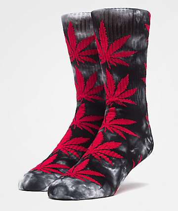 HUF Plantlife Crystal Washed Black & Red Crew Socks