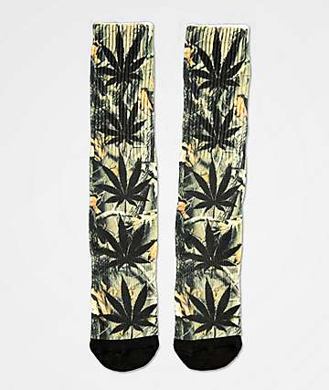 HUF Plantlife Digi Camo Black Crew Socks
