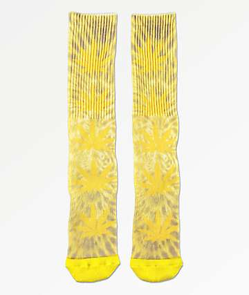 HUF Plantlife Digital Dye Aurora Yellow Crew Socks