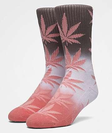 HUF Plantlife Fade Dye Coral Haze Crew Socks