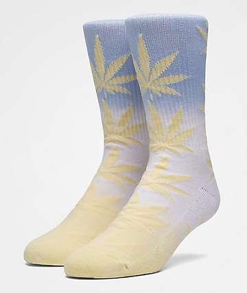 HUF Plantlife Fade Dye Sunset Yellow Crew Socks