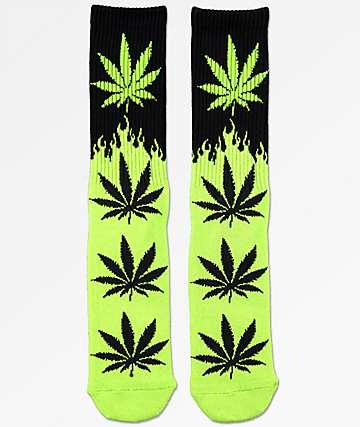 HUF Plantlife Flames Black & Green Crew Socks