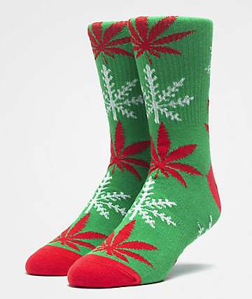 HUF Plantlife Glow-Flake Green Crew Socks